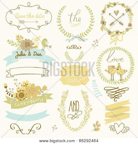Light wedding romantic collection with labels, ribbons, hearts, flowers, arrows, wreaths, laurel and birds. Graphic set in retro style. Save the Date invitation in vector.