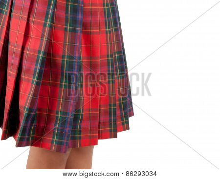 Close Up Of A Red Skirt Scottish.