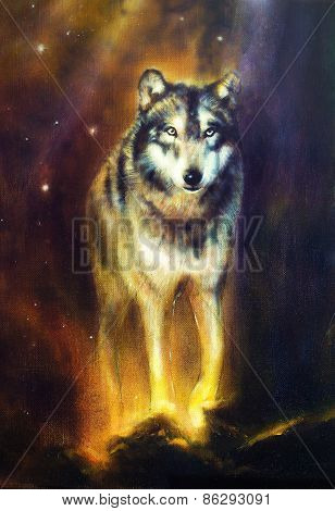 Wolf Portrait, Walking Mighty Cosmical Wolf,  Beautiful Detailed Oil Painting On Canvas
