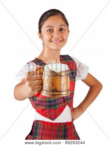 Teenager Dressed With Red Plaid Clothing And Mug Of Beer