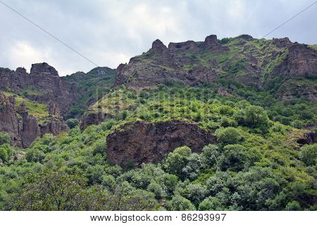 Mountains And Cliffs Surrounding Azat River And Geghard Monastery