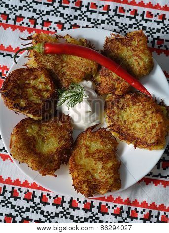 Deruni (potato Pancakes) On A Traditional Ukrainian Towel