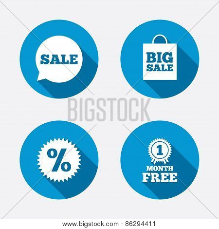Sale speech bubble icon. Discount star symbol