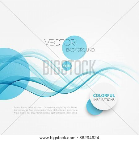 Abstract blue curved lines background. Template brochure design