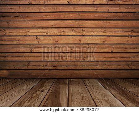 old wooden interior, vector