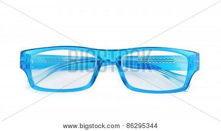 Blue plastic glasses isolated