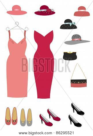 Fashion store set for women  dress shoes and hats