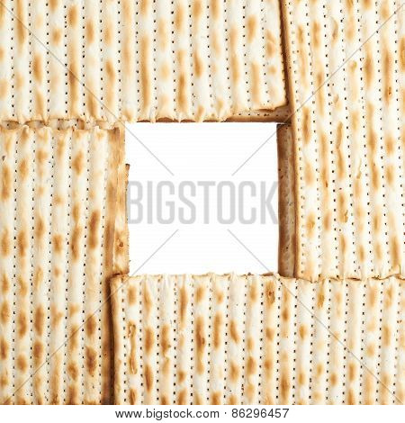 Square frame formed with matza flatbread