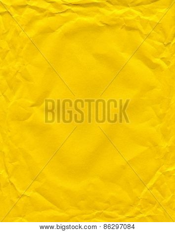 Yellow Color Wrinkled Paper As Background. Art Is Painted By Photographer.