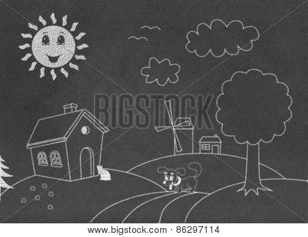 Landscape on chalkboard