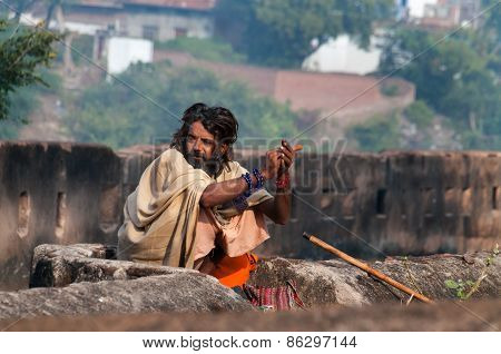 Indian Sadhu Near Palace In Orchha