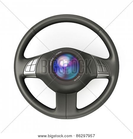 3D rendering of a steering wheel with a camera lens in the centre
