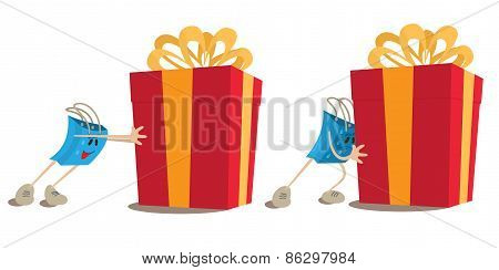 Shopping bag mascot pushing gift box