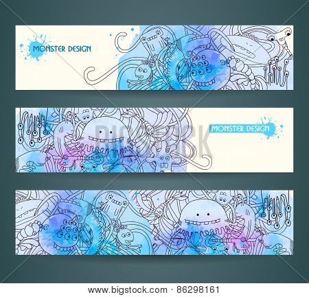 Banners with abstract monsters, doodles.