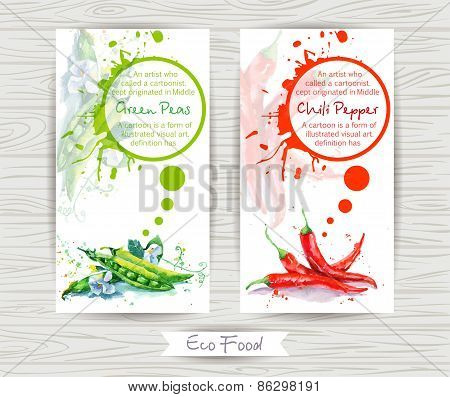 Flyer with green peas and chili pepper. Watercolor illustration.