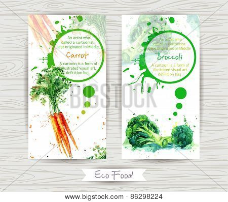 Flyer with broccoli and carrot. Watercolor illustration.