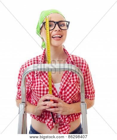 Smile Woman Holding Meter, Isolated On White. Happy Female Worker Ready For Home Renovating