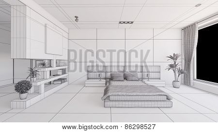 Interior Rendering Of A Bedroom Without Textures