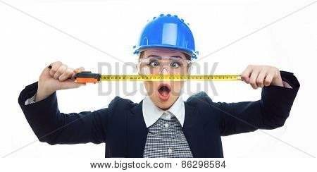 Engineer Woman Over White Background