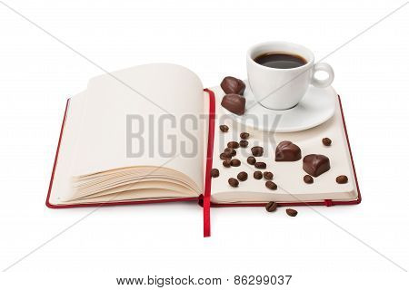 Notebook, Cup Of Coffee And Chocolate Candy