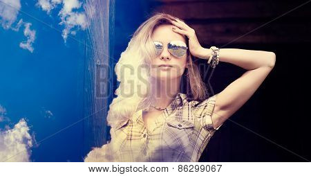 Double Exposure Portrait of Hipster Girl