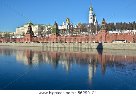 Kremlin Embankment, Wall And Churches Of The Kremlin.