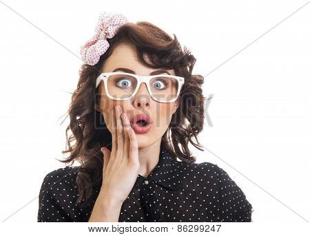 Amazedly Young Woman With Open Mouth, Isolated On White. Surprised Or Astonished Funny Girl