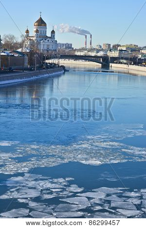 Moscow River,  Kremlin And Cathedral Of Christ The Savior.