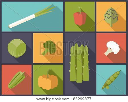 Vegetables flat icons vector illustration. Flat design illustration with a variety of vegetables symbols.