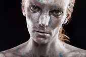 pic of fine art portrait  - portrait of beautiful woman with silver bodyart and face art - JPG