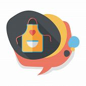 image of apron  - Kitchenware Apron Flat Icon With Long Shadow - JPG