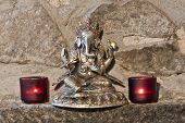 image of ganesh  - three metals Ganesh carving from India - JPG