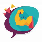 picture of flat stomach  - Muscle Man Flat Icon With Long Shadow - JPG