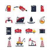 foto of oil can  - Petroleum industry flat icon set isolated with drilling process gasoline pump oil can isolated vector illustration - JPG