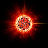 image of triskelion  - Bdsm sign abstract on red circle with rays outside - JPG