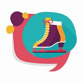 image of skate  - Ice Skate Flat Icon With Long Shadow - JPG