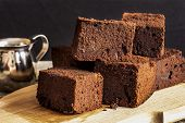 picture of guinness  - chocolate brownie with dark beer on a black background - JPG