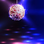image of illuminating  - Modern illuminating disco ball sphere with spotlights disco background vector illustration - JPG