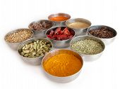 stock photo of garam masala  - silver bowls of spices - JPG