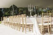 stock photo of tent  - Decor Dinner Tables outdoors tent celebration dinner at private mansion home - JPG