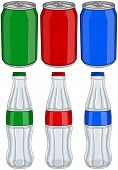 pic of cans  - Vector illustration pack of red green and blue soda cans and glass bottles - JPG