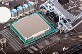 image of processor socket  - CPU socket on motherboard with installed a processor - JPG