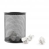 pic of dustbin  - Office paper black trash bin next to crumpled paper isolated over the white background - JPG