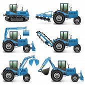 picture of tractor  - Agricultural Tractor Set 1 including six tractors with different equipment - JPG