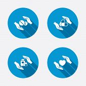 foto of medical assistant  - Hands insurance icons - JPG