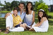 Attractive Family Sitting On Grass Outside In Sunshine