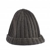 foto of knitted cap  - Black knitted head cap isolated over the white background - JPG