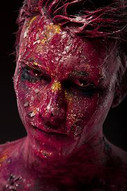 pic of mauri  - A creepy portrait of a halloween man with bloody body art and face art - JPG