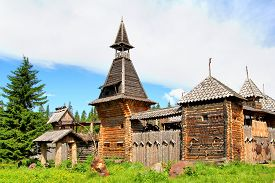stock photo of stockade  - Stock photo of a Ancient wooden fortress - JPG