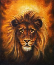 foto of lion  - Lion close up portrait lion head with golden mane beautiful detailed oil painting on canvas eye contact - JPG